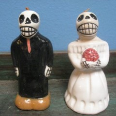 Bride and Groom Ceramic Skeleton Dinner Bells
