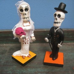 Bride and Groom Ceramic Skeleton Cake Toppers