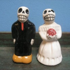 Bride and Groom Ceramic Skeleton Salt & Pepper Shakers