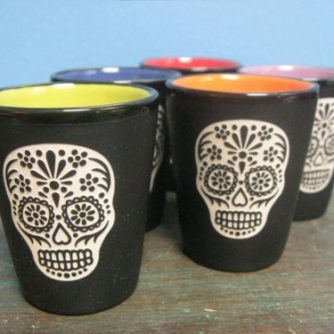 Sugar Skull shot glasses colorful