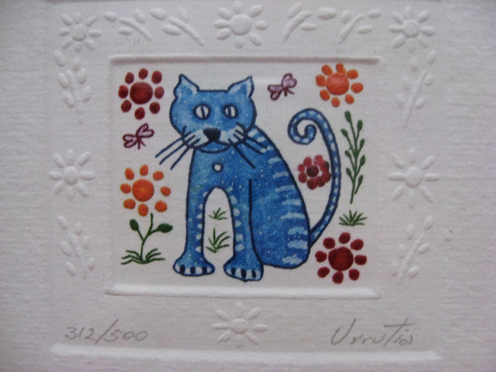 Tiny embossed and hand-painted prints from Mexico