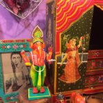 Painted figurines, frame, and jewelry box from India