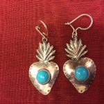 Mexican silver sacred heart earrings with turquoise