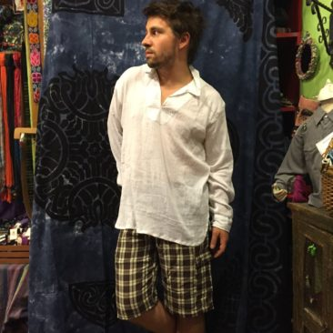 Long sleeved cotton shirt, $28, and plaid hemp and cotton shorts, 25.50 by LAKHAY'S COLLECTION