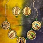 Virgin of Guadalupe bottle cap earrings and necklace set
