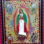 Virgin of Guadalupe mixed media folk painting