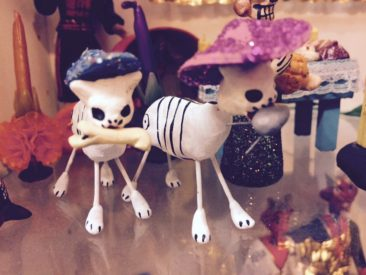 Day of the Dead cat figurines