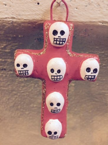 Day of the Dead cross with skulls