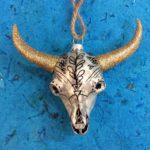 Hand blown glass cow skull ornament