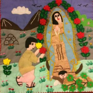 Juan Diego and the Virgen de Guadalupe Peruvian textile