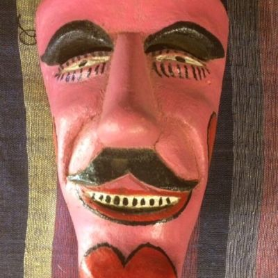 Pink Heart Carnival Mask from Mexico