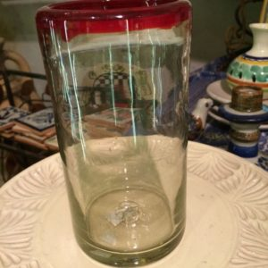 Mexican glass with red rim