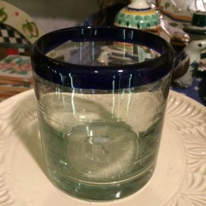 Mexican glass with blue rim