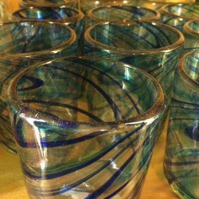 Mexican glass blue swirl