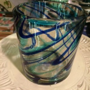 Mexican glass blue swirl