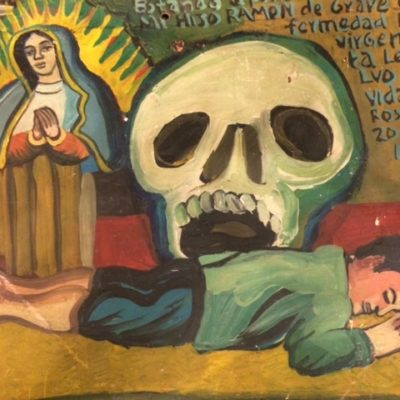 Virgin of Guadalupe with Skull Ex-Voto