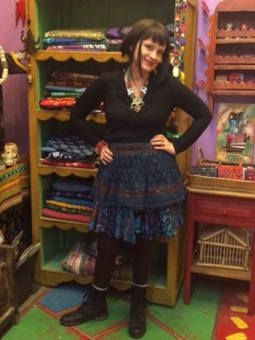 Layered blue Indian printed skirt, $31, and printed wrap skirt, $53, by CULTURE SHOP
