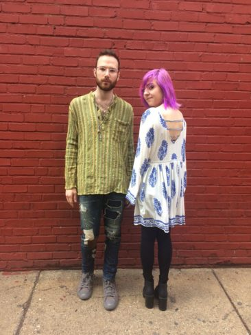 Duncan: Long-sleeved striped woven shirt by KATMANDU IMPORTS, $29; Audrey: White dress with blue paisley pattern by VELZERA, $40