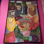 Stitched fabric collage with image of Julia Zagar