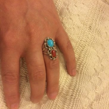 Sterling, turquoise, and coral ring