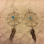 Sterling and turquoise dreamcatcher earrings