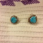 Turquoise and silver posts by Navajo artisan Dolores Cadman