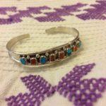 Sterling Navajo inlaid cuff bracelet by Elton Cadman