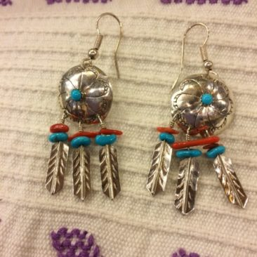 Sterling silver earrings with turquoise and coral