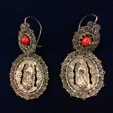Silver filigree and coral Virgen de Guadalupe earrings, $180