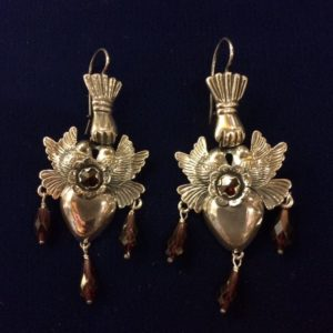Mexican sterling silver earrings with hand, doves, hearts, and garnet stones