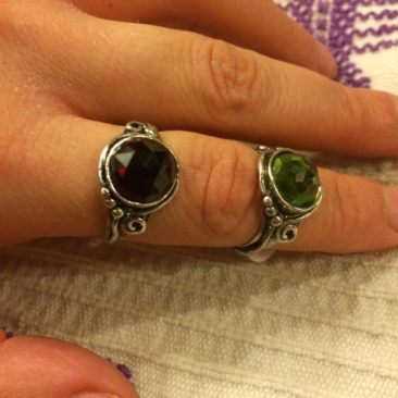 Ruth Doron rings: green faceted, $58, size 7, faceted garnet, $55, size 9