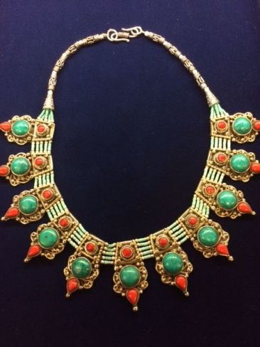 Tibetan necklace with turquoise and coral, $96