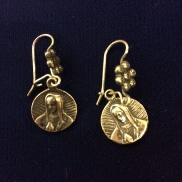 Mexican silver Virgen de Guadalupe earrings, $48