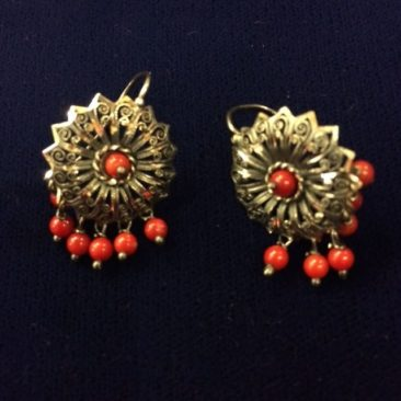 Mexican silver and coral earrings
