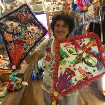 Julia with Mexican folk art kites