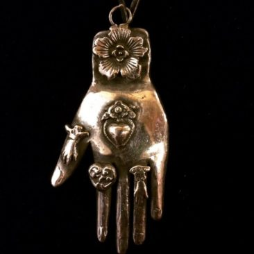 Large sterling silver hand pendant from Oaxaca, $225