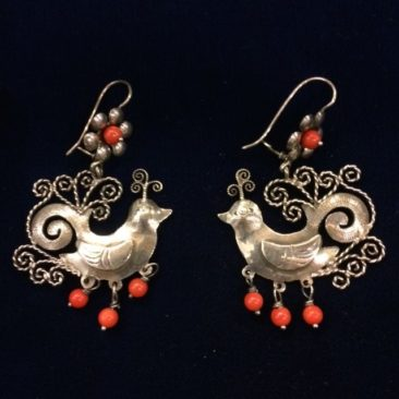 Mexican silver bird earrings with swirls and coral, $225