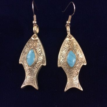 Mexican silver fish earrings with turquoise