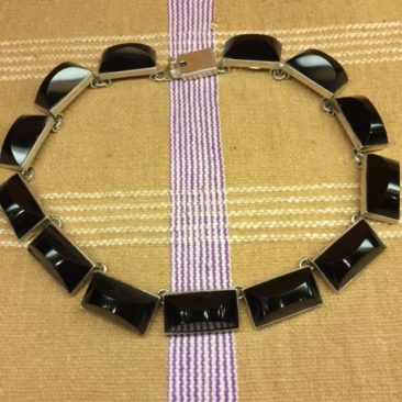 Vintage Mexican handcut obsidian and sterling silver necklace from Taxco, $350