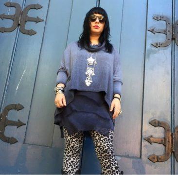 Gray layered sweater dress by SCANDAL