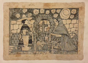 Angelica Myunez, india ink on handmade paper, 2003, $150, 18 x 13.5""