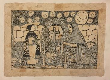 "Angelica Myunez, india ink on handmade paper, 2003, $150, 18 x 13.5"""