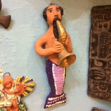 Sax-playing ceramic merman,  $65