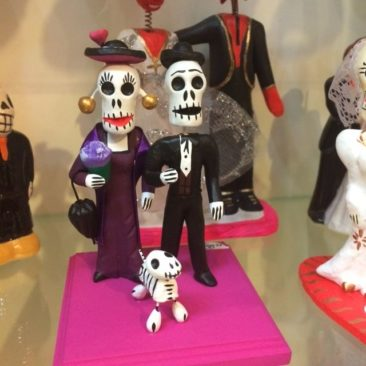 Day of the Dead figurines with dog