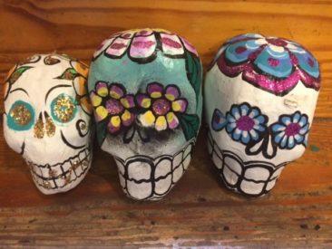Papier mache sugar skulls