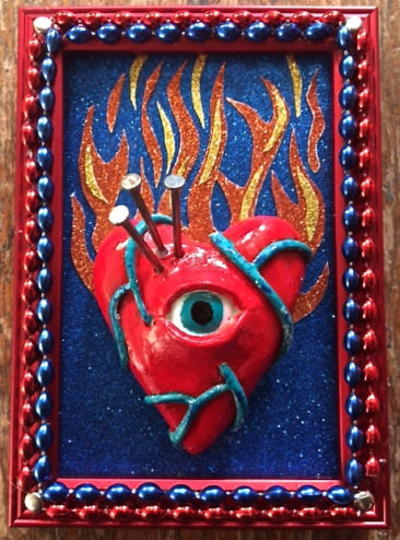 Bob Levy, Flaming Heart, mixed media, $75