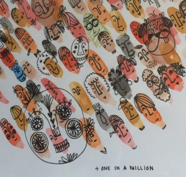 Karith Gingrow, One in a Million.  Watercolor, ink, colored pencil, $75