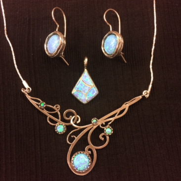 Ruth Doron opal and silver jewelry. Earrings, $46; pendant, $38.50; necklace, $93.50
