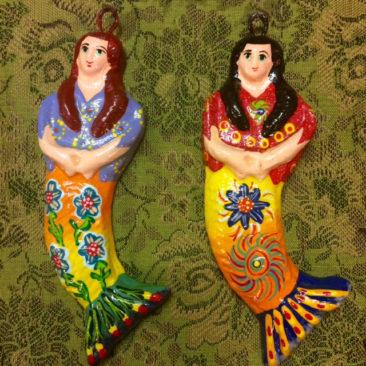 Ceramic mermaid ornaments, $11 each
