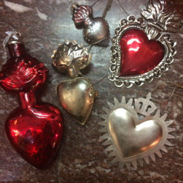Glass and tin sacred heart ornaments, $3.50-$17